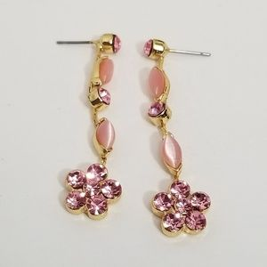 Pink swarovski earrings pink crystaldangle earring